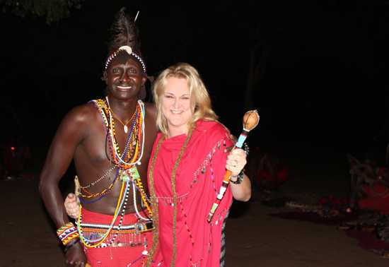 Jeanne in traditional Masai garb at Kichwa Tembo Camp