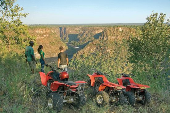 Quad biking with people in Victoria falls