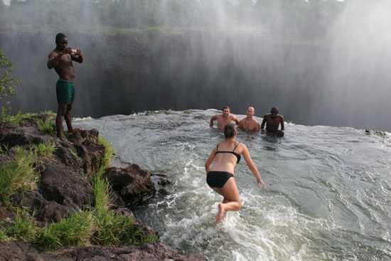 swimming in Devil's pool Victoria Falls