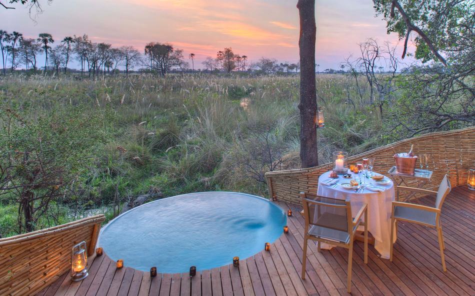 Sandibe Okavango Delta view jacuzzi
