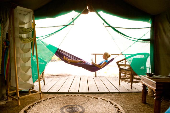 Mumbo island Malawi girl in hammock