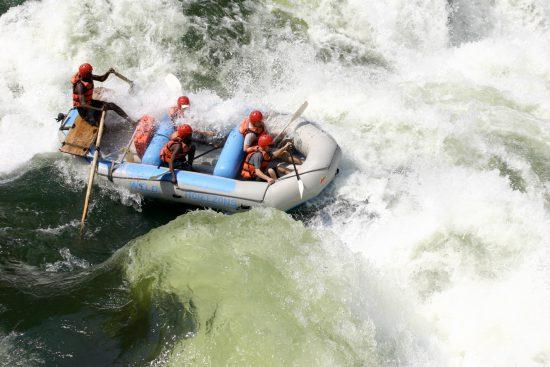 Whitewater rafting in Zambezi rapids