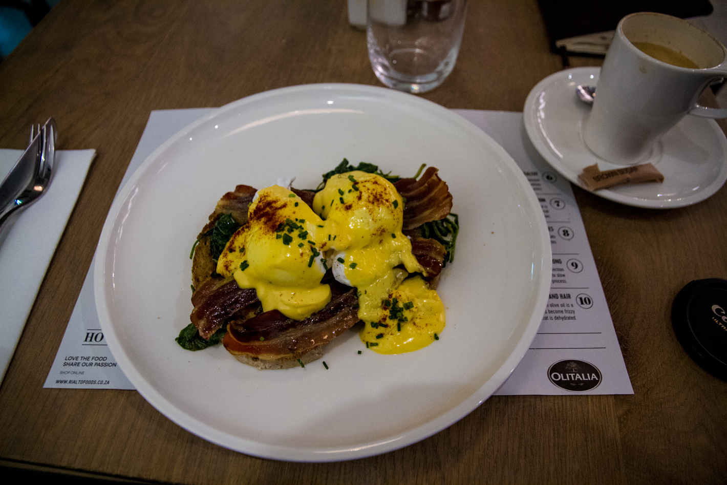 Eggs hollandaise at Villa 47 in Cape Town