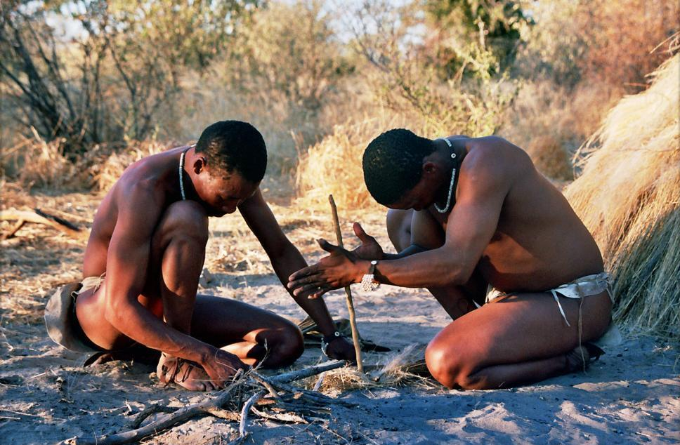 Bushmen making fire