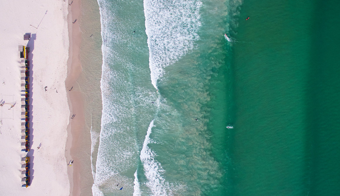 Aerial view of Muizenberg beach