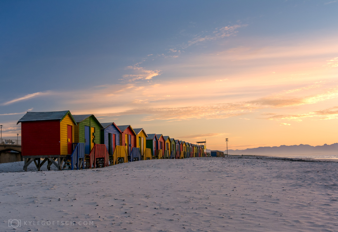 Sunrise on Muizenberg beach huts