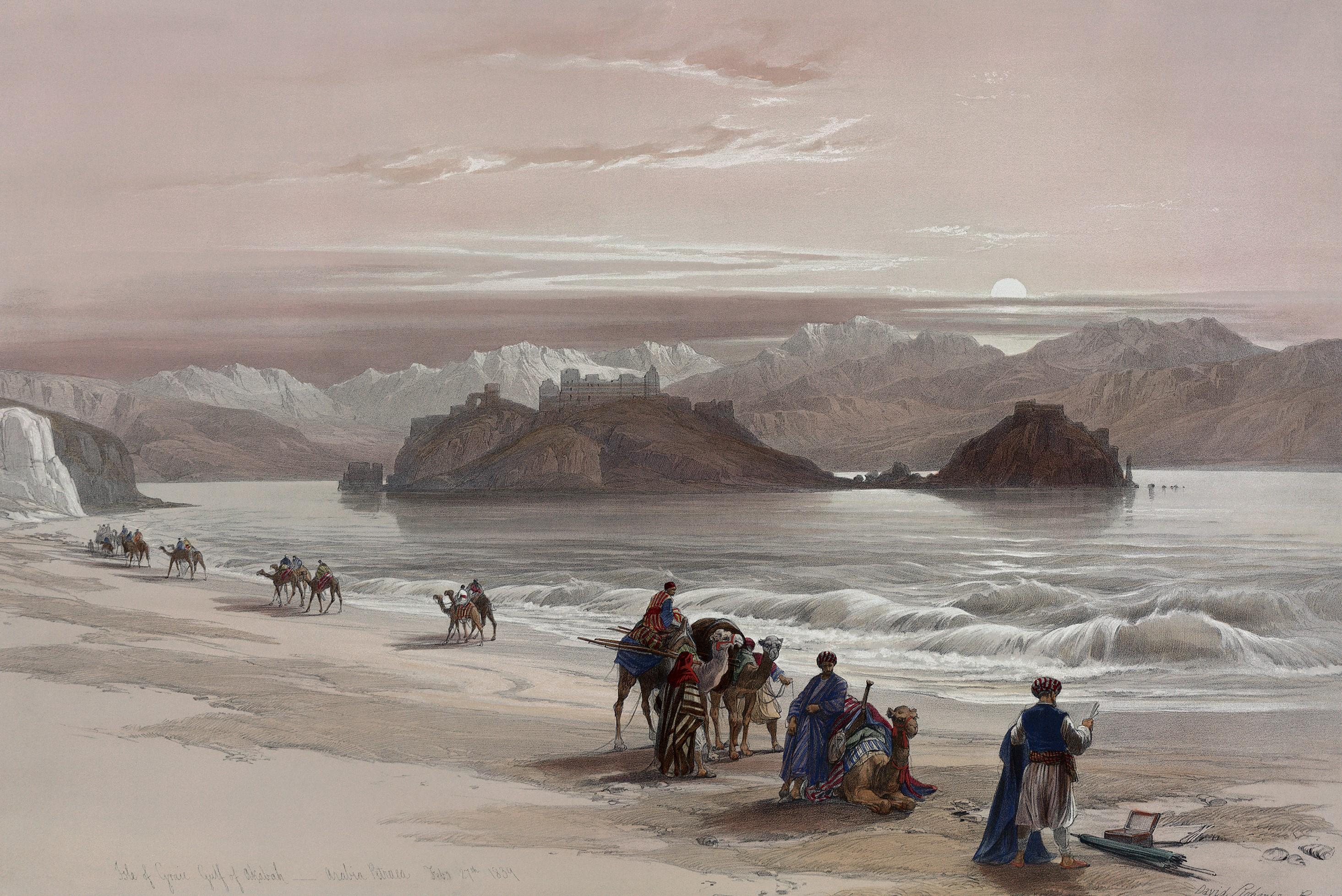 Caravana de viajeros en camellos