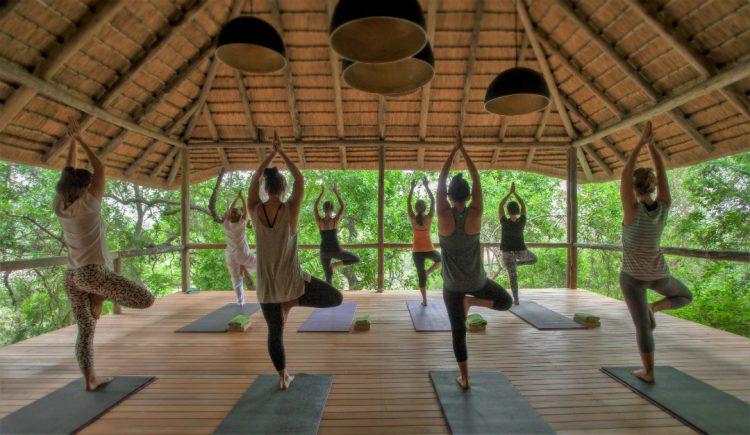 Mujeres practicando yoga en la Reserva Privada de Animales Londolozi