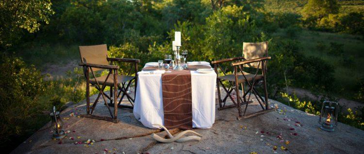 Cena romántica en la Reserva Privada de Animales Ulusaba