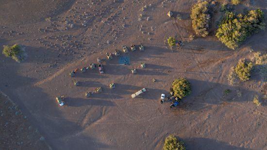 drone shot of bush camp