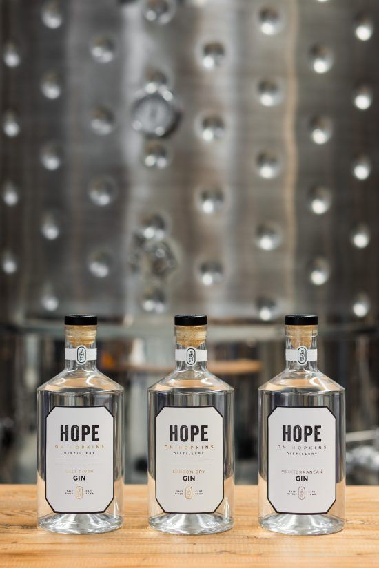 The 3 gins at Hope on Hopkins in Cape Town