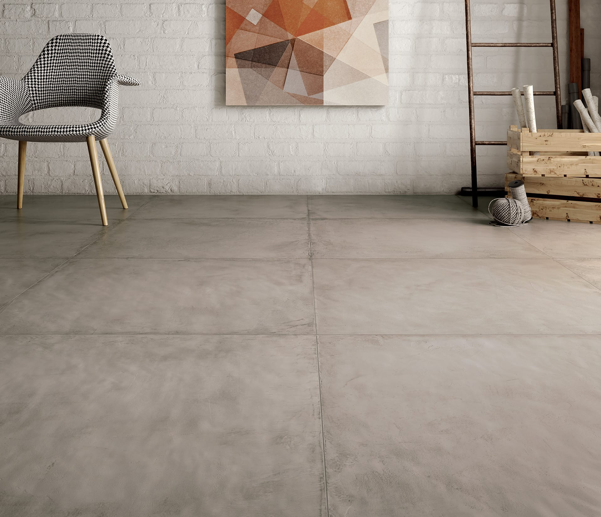 Concrete effect tiles for walls and floor res cover by for Carrelage 60x60 taupe