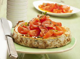 Torta di ricotta con pomodorini
