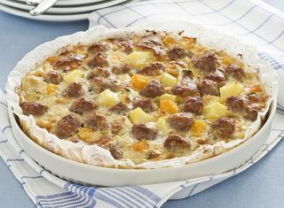 Zucca, salsiccia e patate al forno