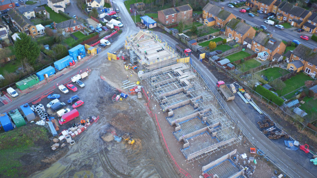 Aerial photo of Golden Mede construction site