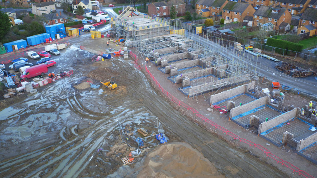 Aerial view of Golden Mede construction site