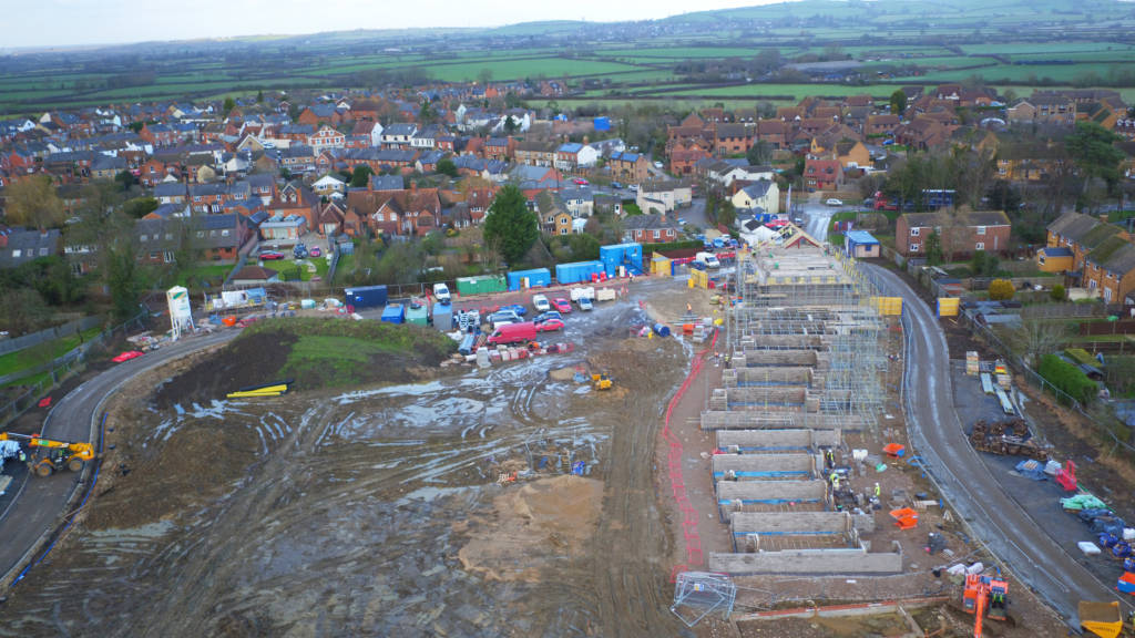 Aerial view of Golden Mede construction site.