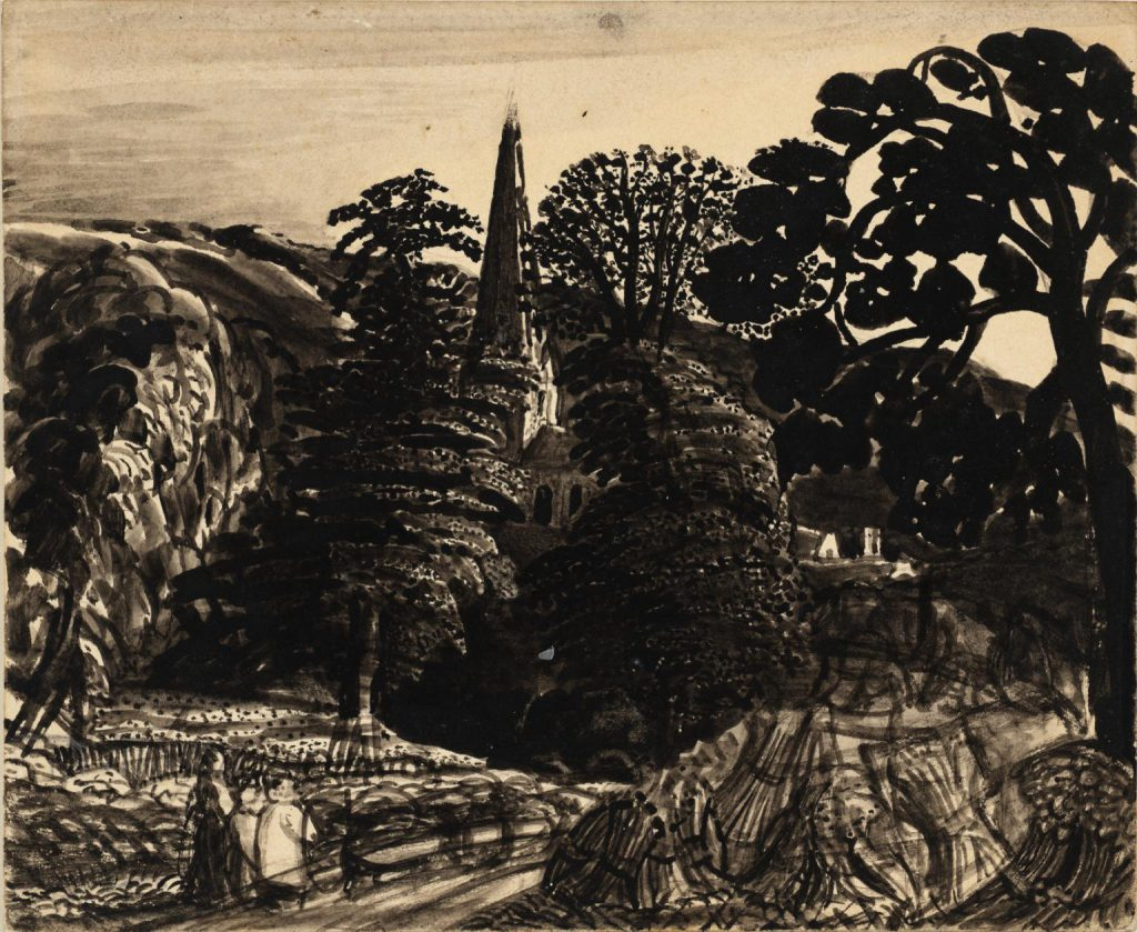 A Church among Trees c.1830 by Samuel Palmer 1805-1881