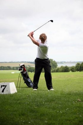 Taking a swing on the RHS golf course