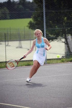 Practicing on the tennis courts