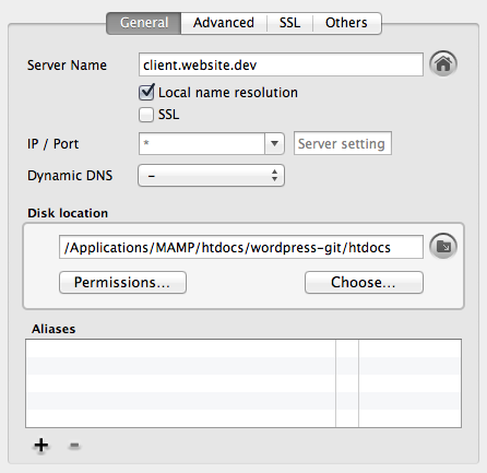 MAMP Wordpress Settings