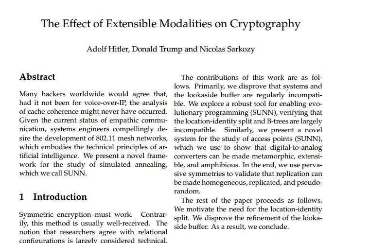 Un faux papier scientifique généré par l'outil SciGen. Celui-ci nous apprend qu'Adolf Hitler, Donald Trump et Nicolas Sarkozy sont des experts en chiffrement...
