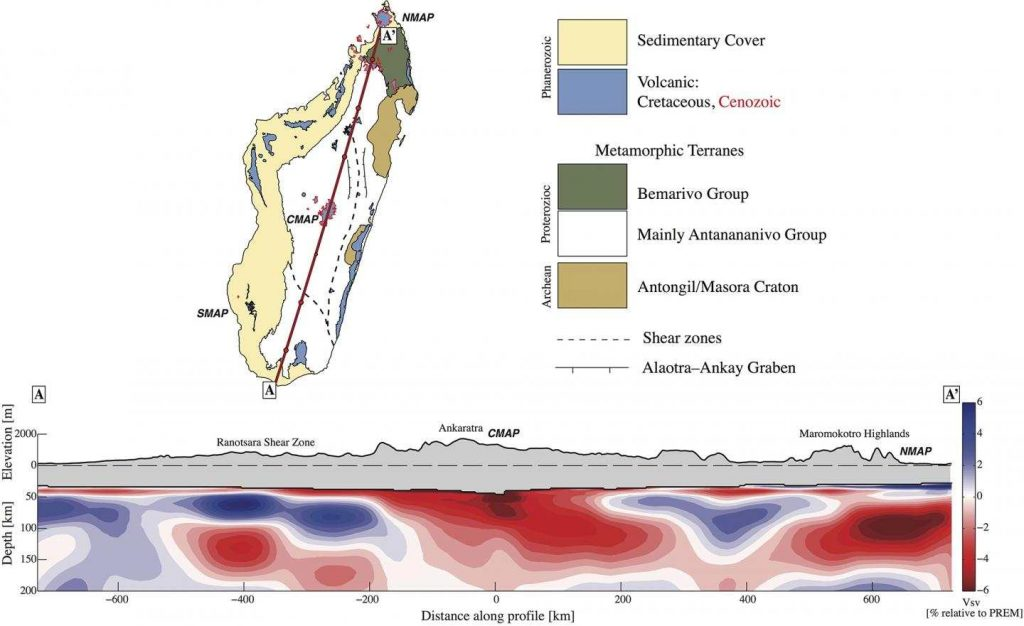 Des image sismiques montre les zones de roches chaudes situées en dessous des zones élevées d'un volcanisme récent - Crédit : Martin Pratt