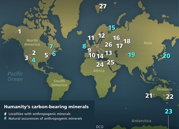 La carte mondiale des 29 minéraux antropogéniques qui contiennent du carbone. Les zones blanches indiquent des endroits avec minéraux antropogénique et les zones bleues indiquent l'apparition naturelle de ces minéraux antropogéniques - Crédit : deepcarbon.net