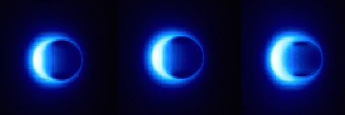 Le genre d'image qu'on devrait avoir sur l'ombre du trou noir si le télescope Event Horizon réussit son objectif.