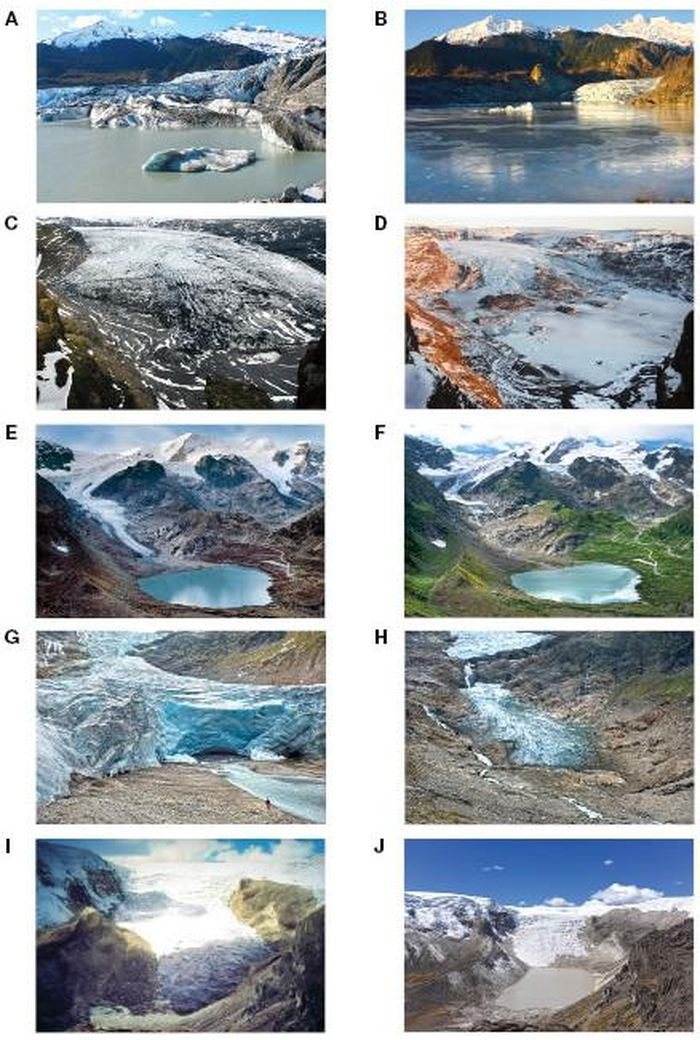 Ces images Avant/Après montre les retraites des glaciers dans de nombreuses parties du monde : Le glacier Mendenhall en Alaska(A-B) - 550 mètres de 2007 à 2015. Le glacier Solheimajokull en Islande (C-D) - 625 mètres de 2007 à 2015. Le glacier Stein en Suisse (E-F) - 550 mètres de 2006 à 2015. Le glacier Trift en Suisse (G-H) - 1,17 Km de 2006 à 2015. Le glacier Qori Kalis du Quelccaya Ice Cap au Pérou (I-J) - 1,14 km de 1978 à 2016 Crédit : (A-H) James Balog and the Extreme Ice Survey; (I-J) Lonnie Thompson.