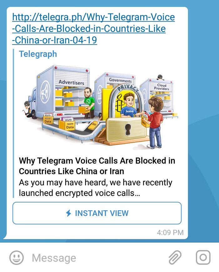 Le format Instant View de Telegram est disponible pour tous les sites