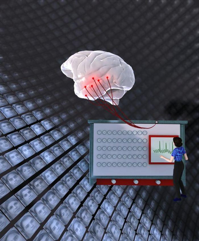 """Cette image représente un cerveau qui regarde des centaines de visage. Les 50 cadrans sur la """"machine à décoder les visages"""" illustre le concept que les """"neurones faciaux"""" distinguent les visages en les projetant sur des axes s'étendant sur un espace à 50 dimensions. Chaque axe est codé par une seule cellule de neurone facial dont la stimulation est affiché sur le moniteur - Crédit : Doris Tsao"""