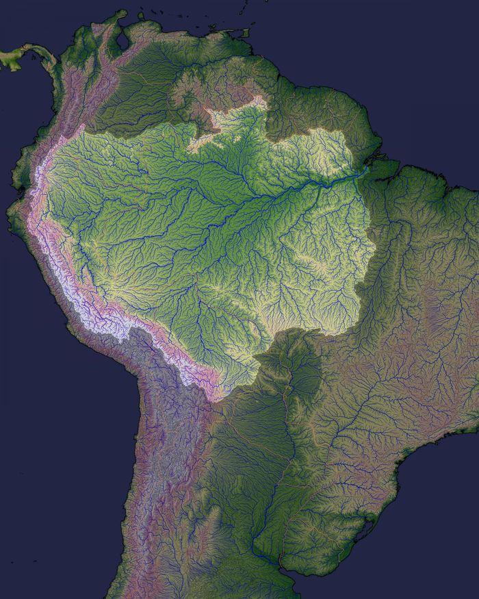 Cette carte de l'Amérique du Sud montre le bassin versant du fleuve Amazone. Ce bassin, qui s'étend des Andes jusqu'à la cote de l'Atlantique, couvre 6,1 millions de kilomètres carrés et il couvre 9 pays - Crédit : Earth Observatory, NASA