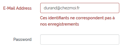 Vérification du couple email/password dans la base