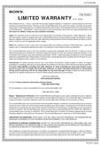 Sony CDX-GT810UW - Limited Warranty (U.S. Only)