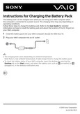 Sony SVE15126CXS - Instructions for Charging the Battery Pack