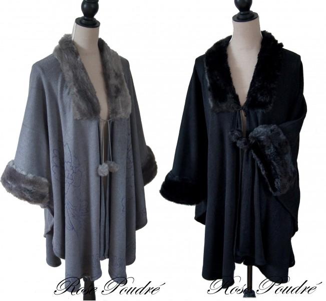 manteau cape poncho femme gris ou noir fourrure synthetique. Black Bedroom Furniture Sets. Home Design Ideas