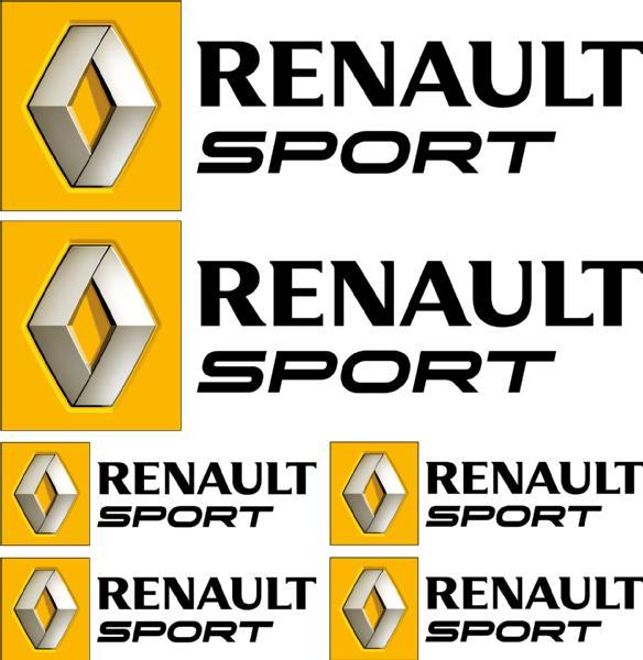 Renault Sport: 6 Stickers Autocollants Logo Renault Sport Noir