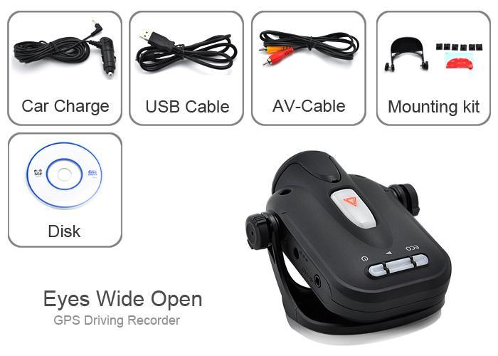 camera voiture dvr gps 8 go detection choc mouchard. Black Bedroom Furniture Sets. Home Design Ideas