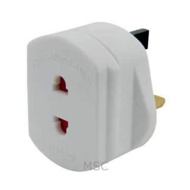 UK 2 Pin To 3 Pin 1A Fuse Adaptor Plug For Shaver / Toothbrush-BY TEC UK