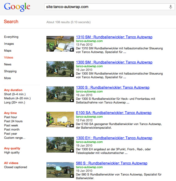 Embedded YouTube video indexing Tanco Autowrap example screenshot