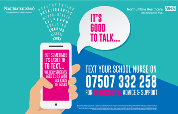 School Nurse contact text service 07507332258