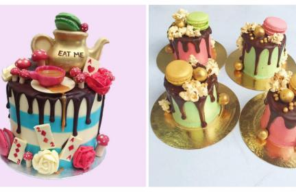 alice in wonderland themed cakes in pastel colours with gold accents