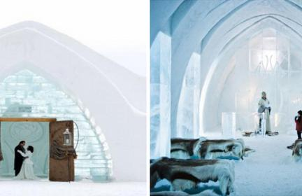 wedding venues made of ice with ice walls and wood doors