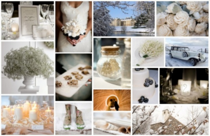 white winter wedding mood board