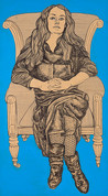 GRAYA103406 Alasdair Gray: May in Black Dress on Armchair, 2010
