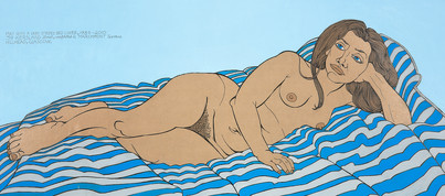 GRAYA103457 Alasdair Gray: May on Very Striped Coverlet, 2010
