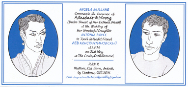 GRAYA103848 Alasdair Gray: Angela Mullane's Invitation Card, 2010