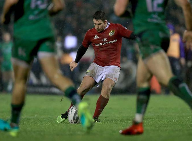 Fast becoming his trademark! Keatley lands another dropgoal, capping off a man of the match performance that saw him secure victory for Munster over Connacht on New Year's Eve and consolidate the men in red's top spot on the Guinness PRO12 table.