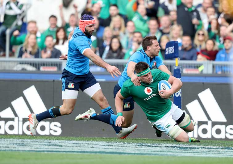 CJ Stander was a hat-trick hero for Ireland in Rome. ©INPHO/Dan Sheridan
